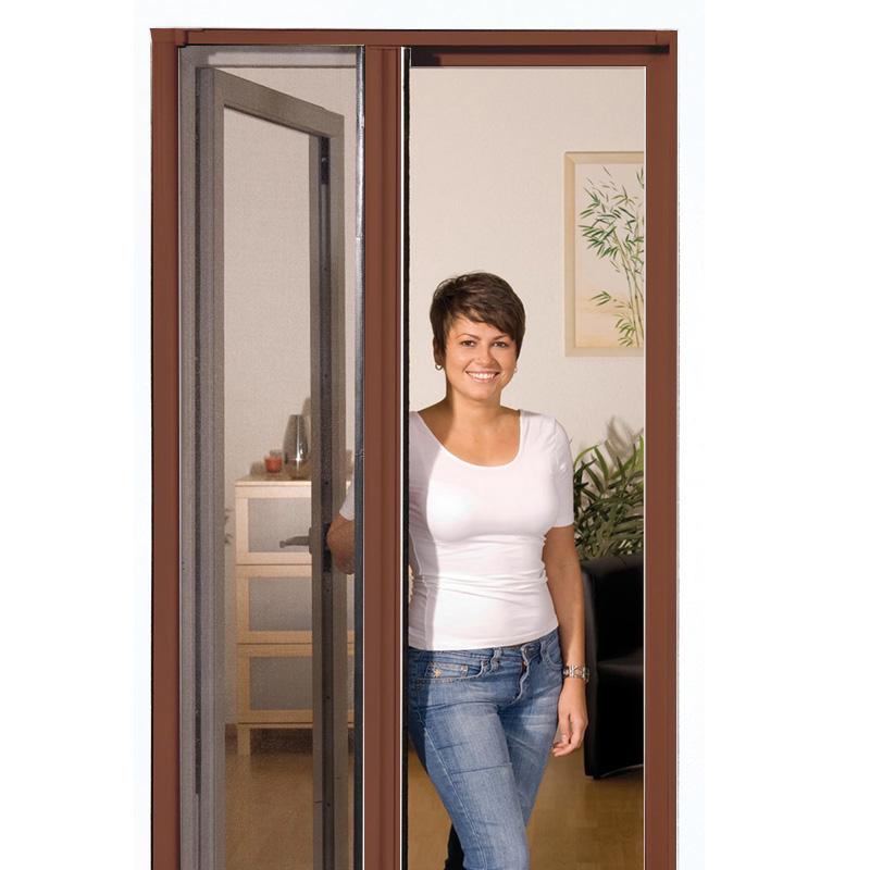 insektenschutz t r alu rollo insektenschutzt r m ckengitter m cke 125x220 braun ebay. Black Bedroom Furniture Sets. Home Design Ideas